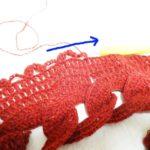 リングマフラー(4):怪奇!左から右に編み進む模様