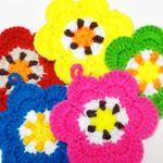 超カワイイ!お花型アクリルたわしをたくさん編んでみました♪