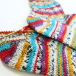 『つま先から編む靴下』その8:な・・・なんとなぁ~~く縞模様が合ったかなぁ??