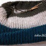 ブリティッシュエロイカ・リブ編み帽子(4):3色入りの地味で派手な帽子