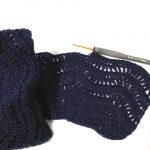 ピマデニムの波模様のカーディガン(1):模様編み入りました